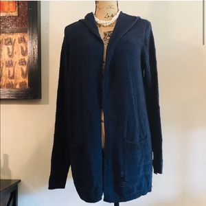 Women's SONOMA Navy Blue Hooded Cardigan Sweater